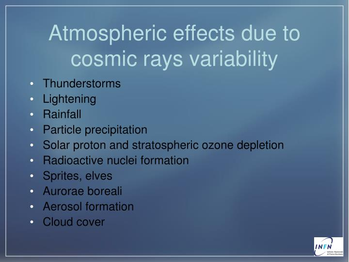 Atmospheric effects due to cosmic rays variability