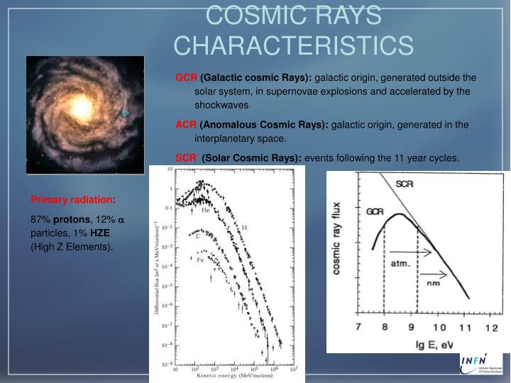 COSMIC RAYS CHARACTERISTICS
