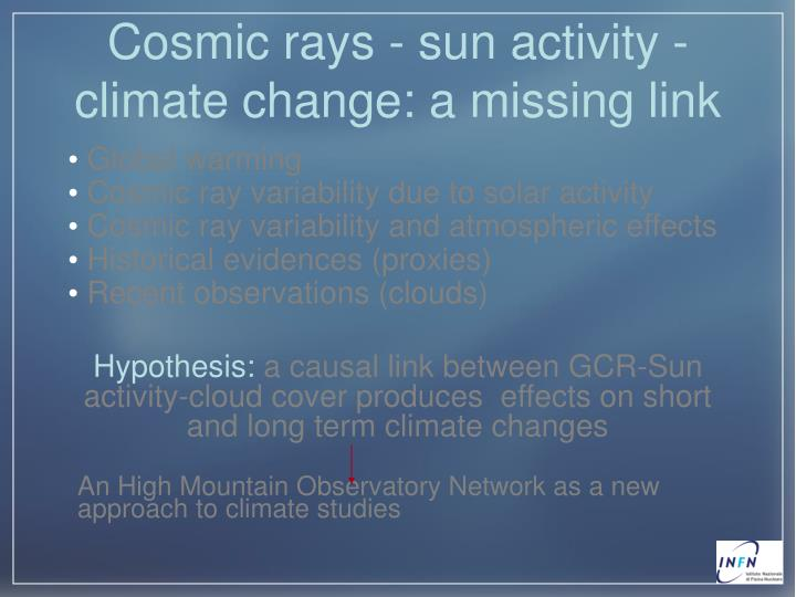 Cosmic rays - sun activity - climate change: a missing link