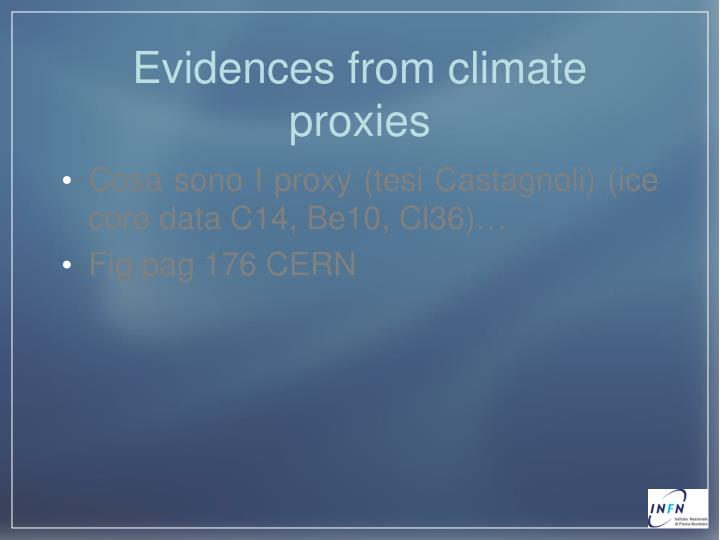 Evidences from climate proxies