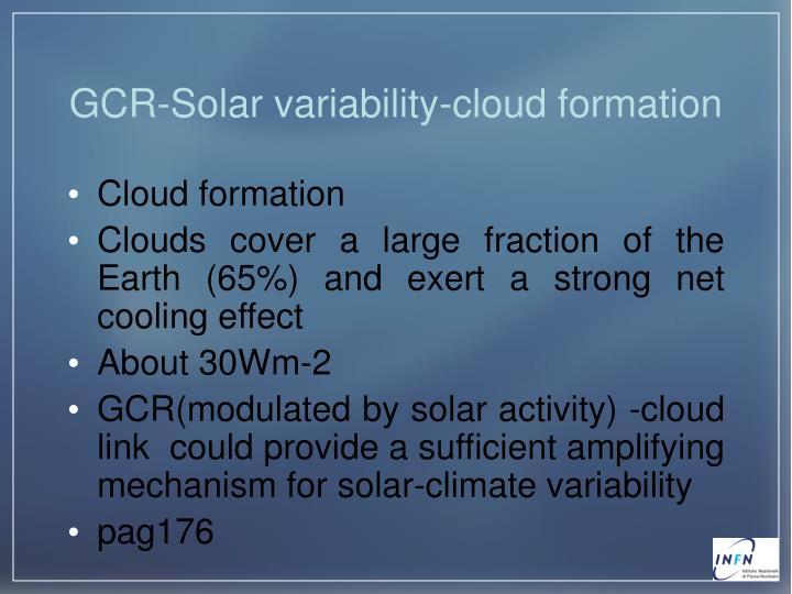 GCR-Solar variability-cloud formation