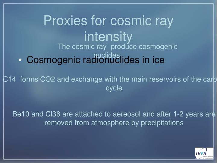 Proxies for cosmic ray intensity