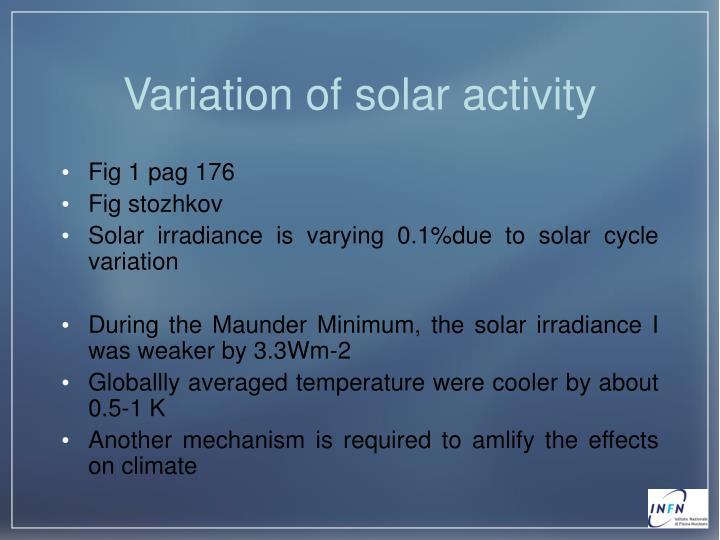 Variation of solar activity