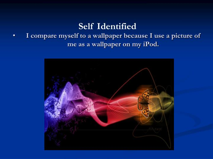 I compare myself to a wallpaper because I use a picture of me as a wallpaper on my iPod.