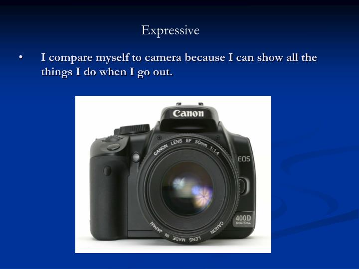 I compare myself to camera because I can show all the things I do when I go out.