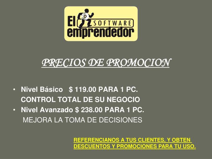 PRECIOS DE PROMOCION