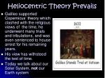 heliocentric theory prevails