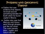 problems with geocentric theory