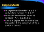 copying checks