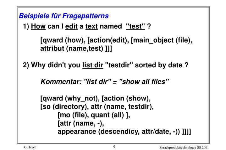 Beispiele für Fragepatterns