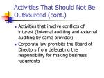 activities that should not be outsourced cont
