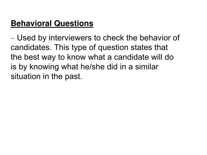 Behavioral Questions
