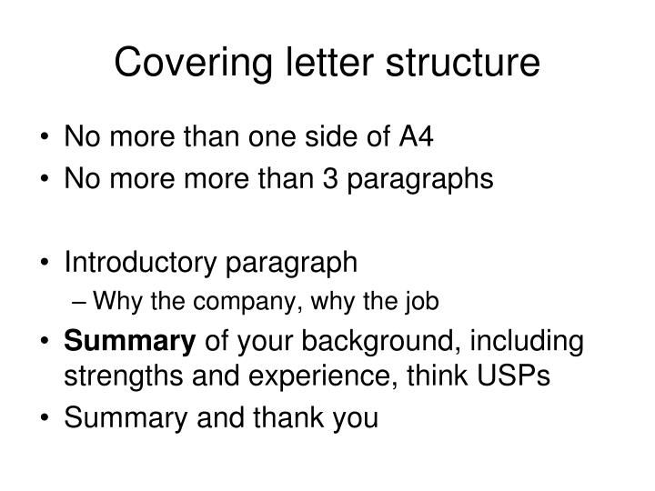 Covering letter structure
