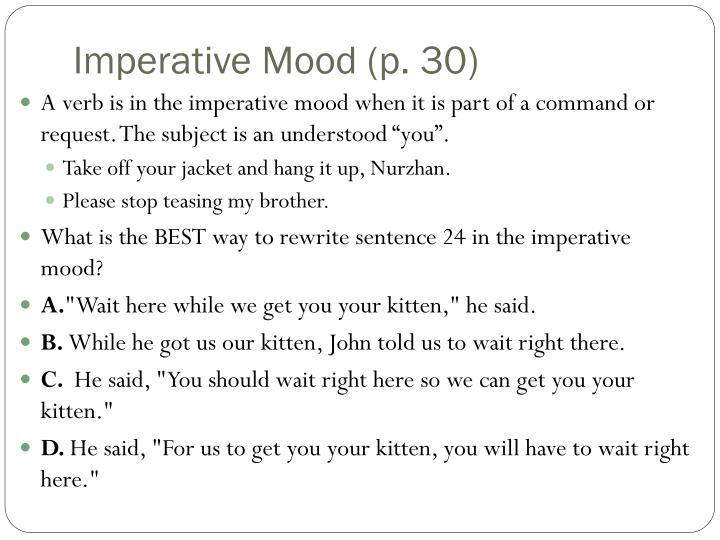 Imperative Mood (p. 30)