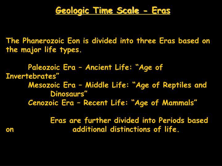 Geologic time scale eras