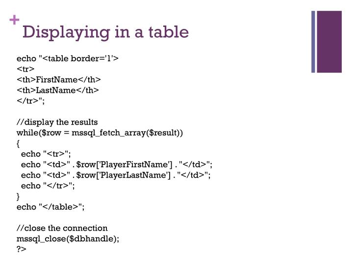 Displaying in a table