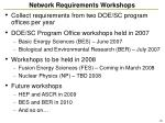 network requirements workshops