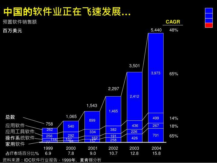 中国的软件业正在飞速发展