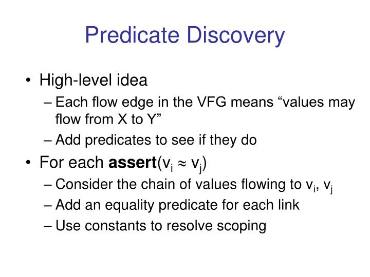 Predicate Discovery