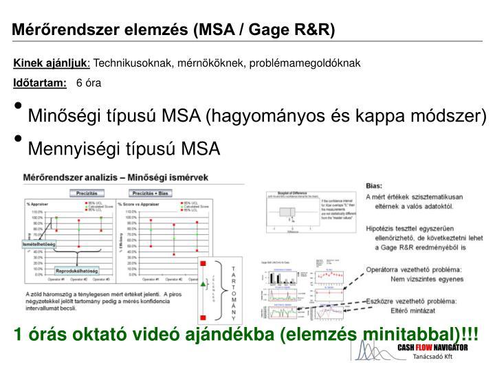 Mérőrendszer elemzés (MSA / Gage R&R)