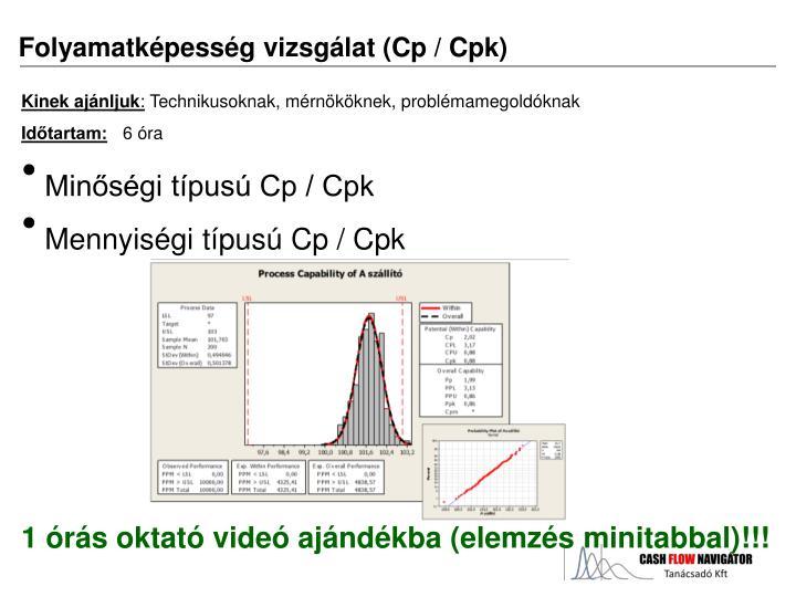Folyamatképesség vizsgálat (Cp / Cpk)
