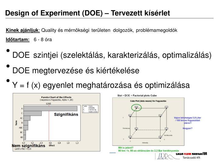 Design of Experiment (DOE) – Tervezett kísérlet