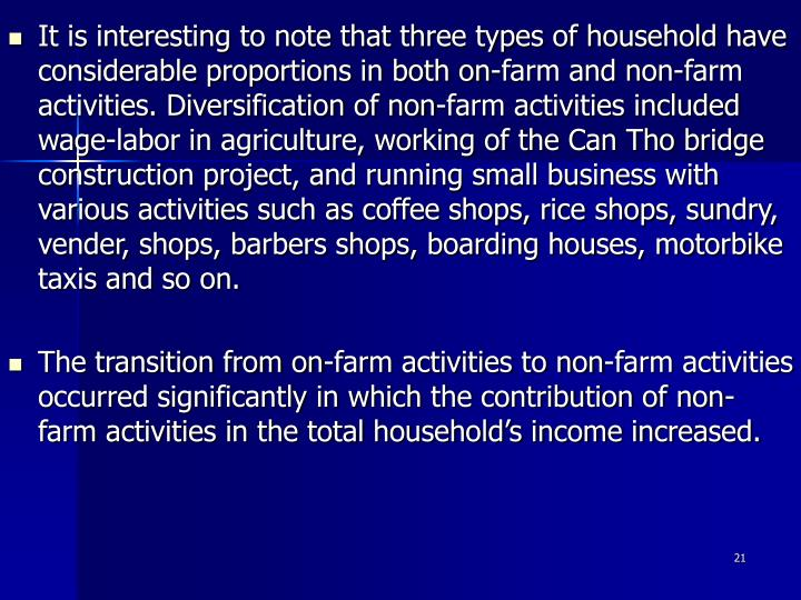 It is interesting to note that three types of household have considerable proportions in both on-farm and non-farm activities. Diversification of non-farm activities included wage-labor in agriculture, working of the Can Tho bridge construction project, and running small business with various activities such as coffee shops, rice shops, sundry, vender, shops, barbers shops, boarding houses, motorbike taxis and so on.