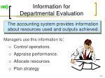 information for departmental evaluation