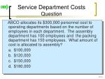 service department costs question