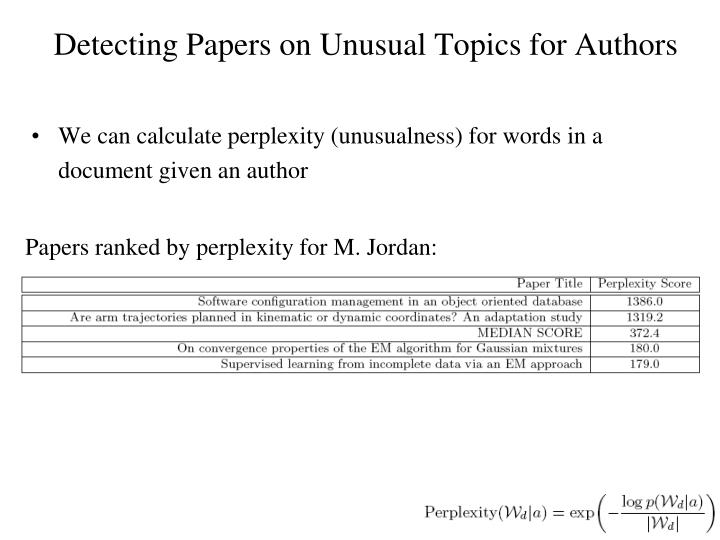 Detecting Papers on Unusual Topics for Authors