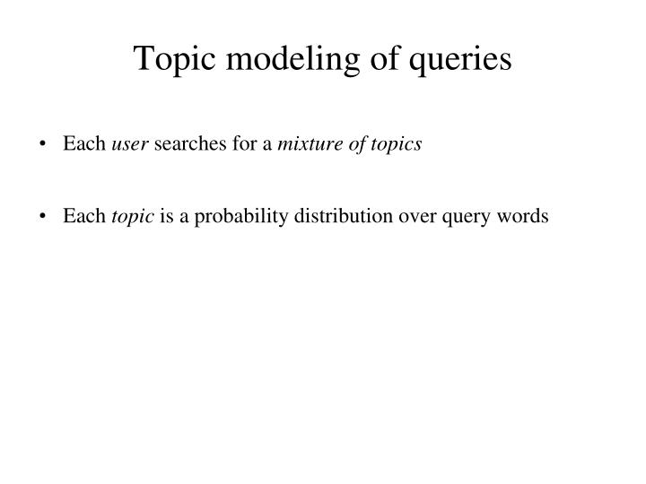 Topic modeling of queries