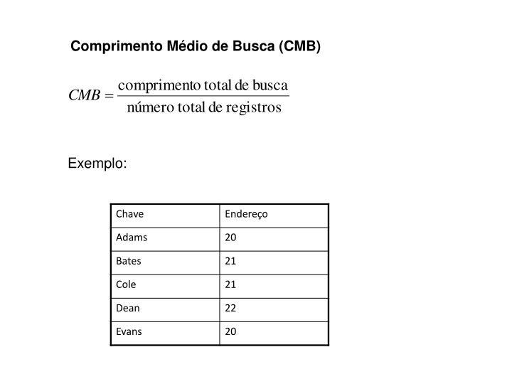 Comprimento Médio de Busca (CMB)