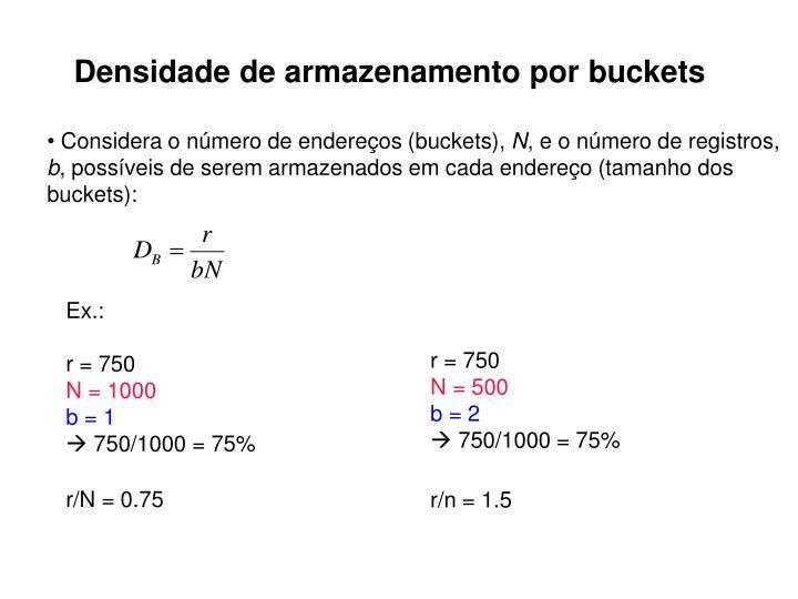 Densidade de armazenamento por buckets