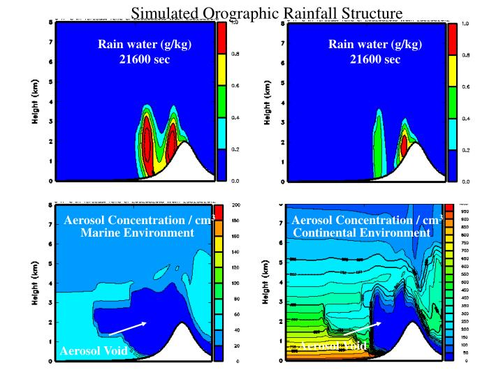 Simulated Orographic Rainfall Structure