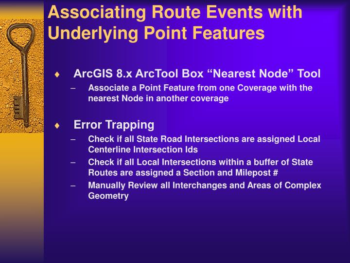 Associating Route Events with Underlying Point Features