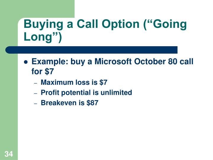 """Buying a Call Option (""""Going Long"""")"""