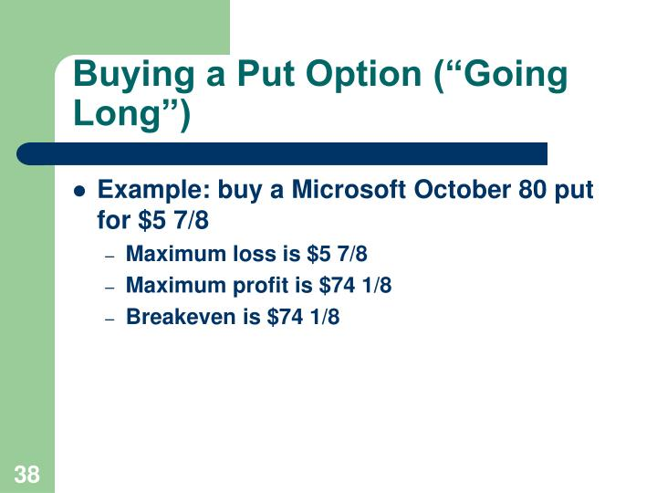 """Buying a Put Option (""""Going Long"""")"""