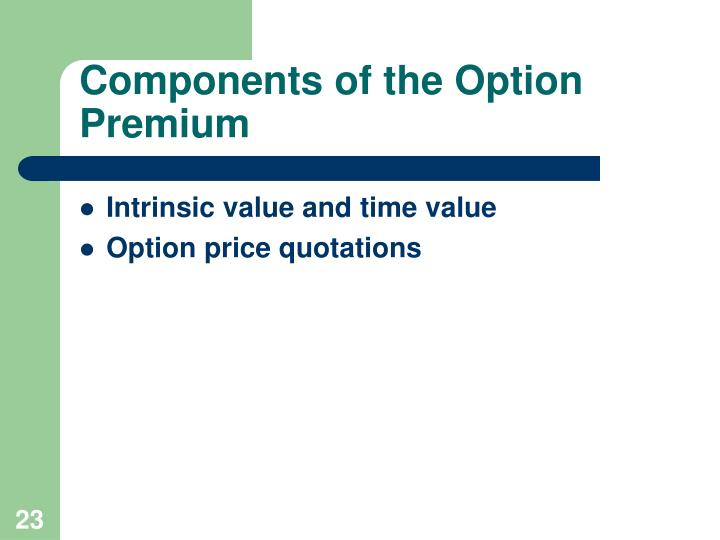Components of the Option Premium