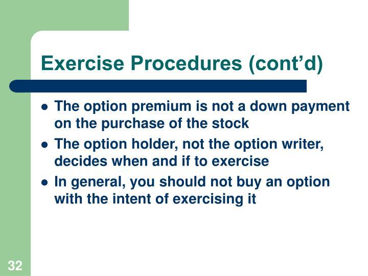 Exercise Procedures (cont'd)