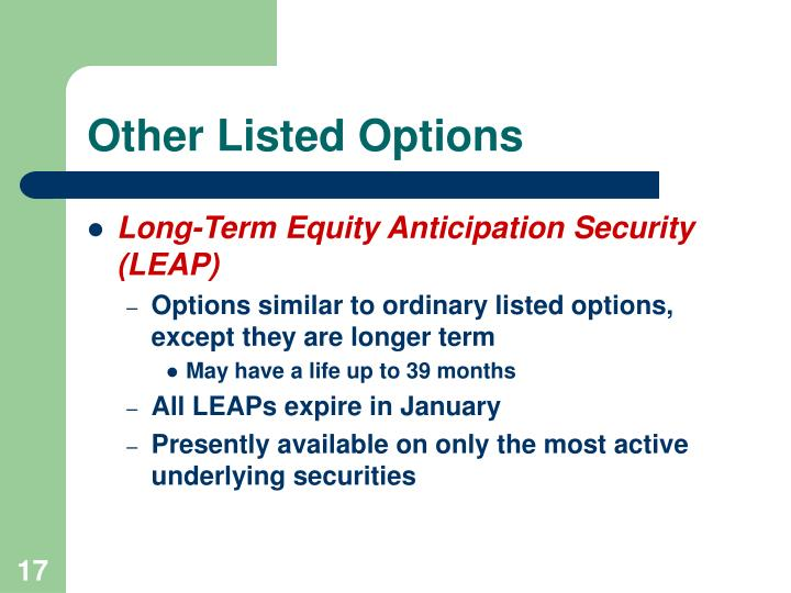 Other Listed Options