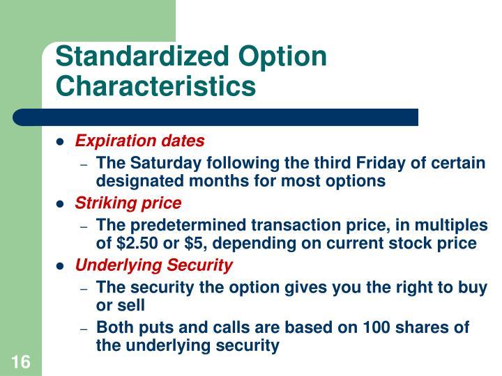 Standardized Option Characteristics