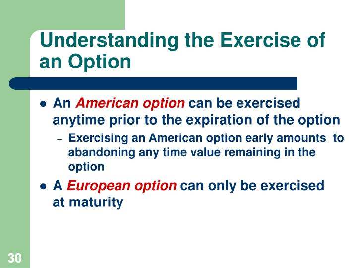 Understanding the Exercise of an Option