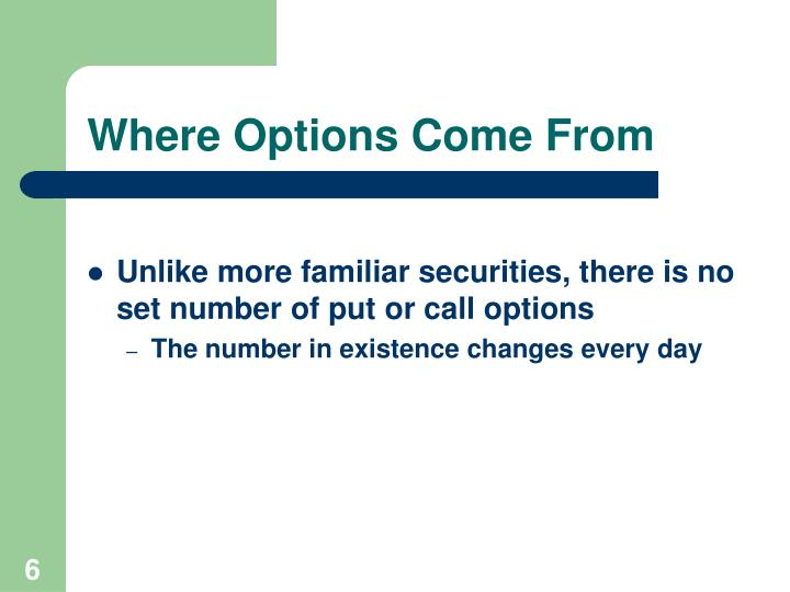 Where Options Come From