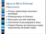 ideas to move forward successes