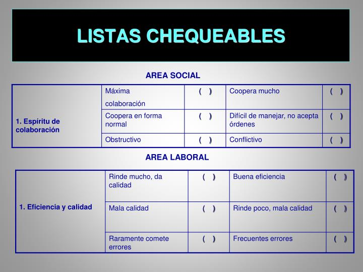 LISTAS CHEQUEABLES