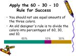 apply the 60 30 10 rule for success