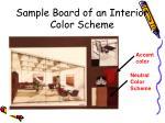sample board of an interior color scheme