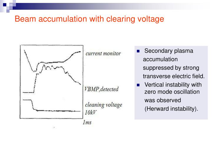 Beam accumulation with clearing voltage