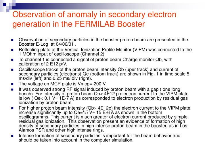 Observation of anomaly in secondary electron generation in the FERMILAB Booster