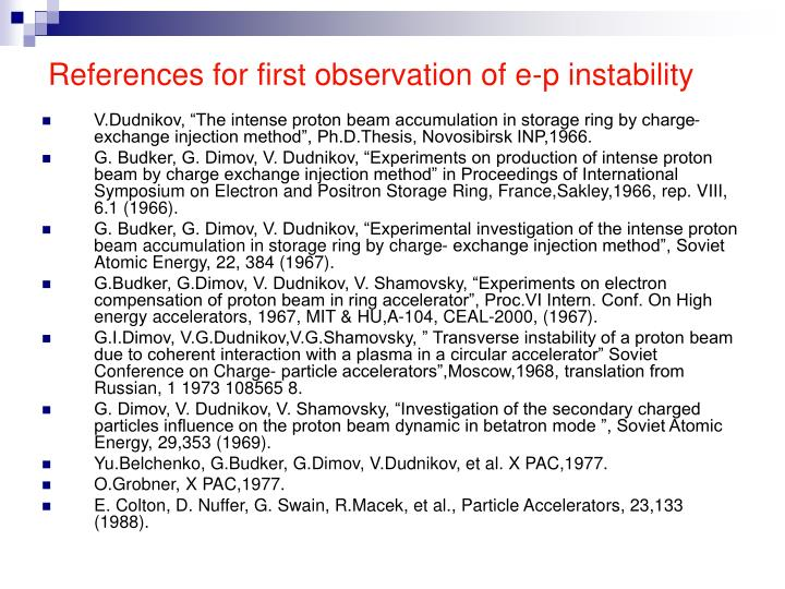 References for first observation of e-p instability